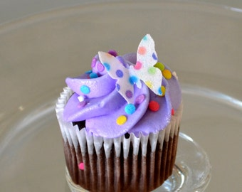 Edible Mini Butterflies - Rainbow Polka Dots 2 dozen - Cake & Cupcake toppers - Food Decorations