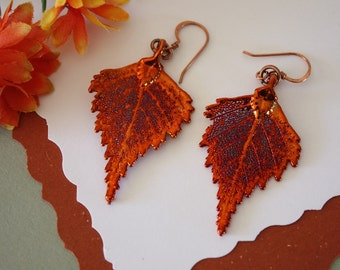 Birch Copper Leaf Earrings, Birch Leaf, Real Leaf Earrings, Copper, Nature, Birch Earrings, Copper Earrings, LESM195
