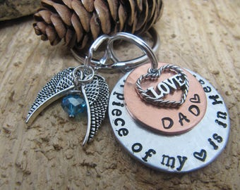 Memorial key chain,Dad memorial,Mom memorial,A piece of my heart is in Heaven,keepsake jewelry, sympathy gift, Memorial for a loved one