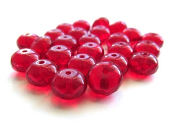 Ruby Red Czech Glass Faceted Rondelles, 8mm x 6mm - 25 pieces