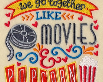 We go together like Movies & Popcorn Embroidered Terry Bathroom  Hand Towel -- You Pick the Color ----Free Shipping