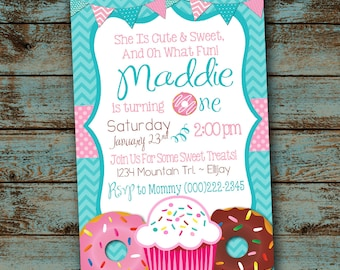Sweet Treats 1st Birthday Party Invitation - Turning One - Teal and Pink, Donuts and Cupcakes Digital File DIY
