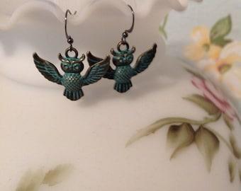 Verdigris owl dangle earrings