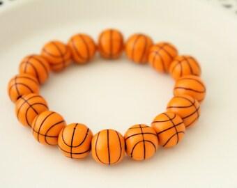 Holiday Gift - Basketball Bracelet - Stocking Stuffer - Christmas Gift - Gift under 10 dollars - Christmas Present - Basketball Gift
