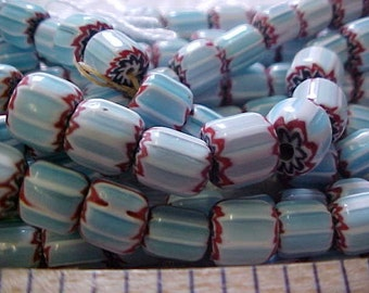Vintage Glass Blue Striped Six Layer Chevron Beads 40 pieces