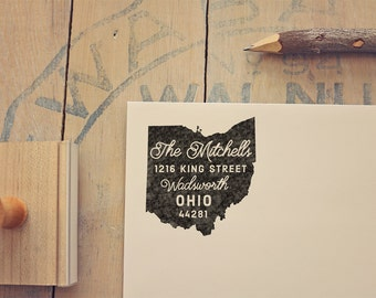 Ohio Return Address State Stamp, Personalized Rubber Stamp