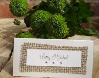 Hessian Place card | Rustic Place card | wedding placename | Rustic Wedding Stationery | Simple Place name