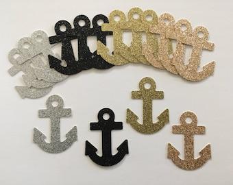 Nautical confetti. Anchor confetti. Large confetti. Glitter confetti. Nautical decoration. Wedding centerpiece. Ocean theme.