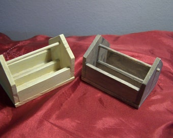 Two handmade miniature wooden tool boxes and miniature wooden chair - 12th scale