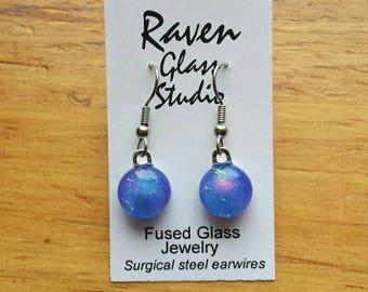Blue dichroic glass earrings, Dichroic glass jewelry, Blue fused glass dangle earrings, EA115A
