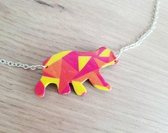 Colorful geometric bear necklace
