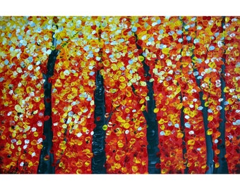 Fall Birch Trees 72x48 Original Painting Large Modern Canvas Red Yellow Huge Canvas