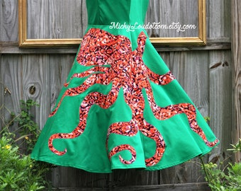 Handmade octopus dress - Ursula inspired dress - available in other color combinations.