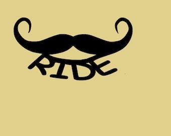 "Mustache Ride, Biker, Motorcycle, Metal Art, Garage, Man Cave, Approximate Size: 9 1/2"" w x 5"" h"