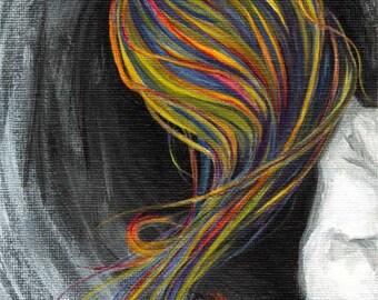 Rainbow Hair Art, Custom Print Size, Abstract Decor, Surrealism, Large Wall Art, Mental Illness, Mental Health Awareness, Anxiety Disorder