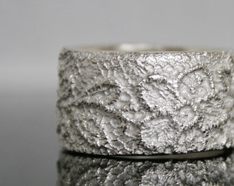Lacey no 8 - white silver - sterling silver lace ring -  made to order in your size
