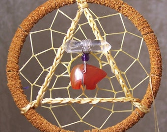 SERENITY BEAR - 3 Inch Dreamcatcher in Orange and Purple by Feathered Dreams
