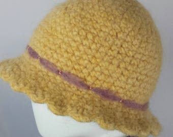 A106 yellow crocheted felted wool cloche hat with pink band