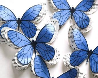 Girl baby shower decorations, 3d butterfly wall art, boho decor, blue wedding decor, blue butterflies, blue wall decoration, butterfly art