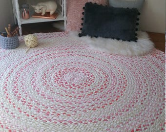 """60"""" rose gold braided rug, with white and natural blend of color shabby chic style"""