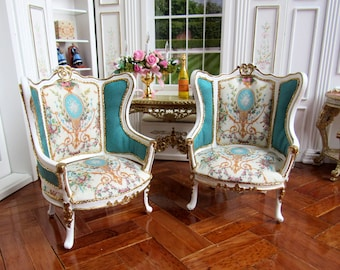 1:12th Scale ~ Dolls House ~ LOUIS XVI ~  FRENCH Bergere Wing Chairs ~ Silk Upholstery ~ Price for Single Chair
