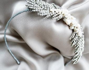 Sparkly feather bridal headband