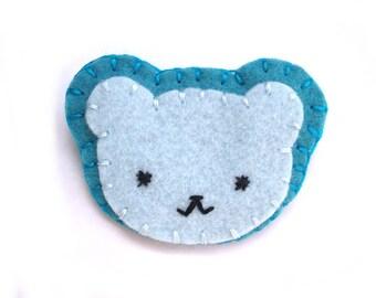 Blue bear brooch, blue felt bear, baby blue teddy bear, teddybear, cute bear, blue pin