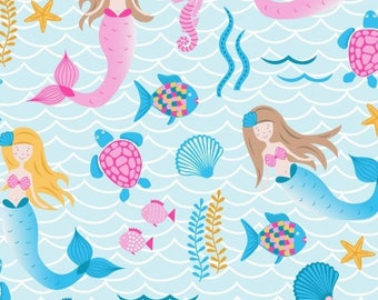 Mermaid Print Cotton Fabric, Patchwork and Quilting Fabric - Fat Quarter