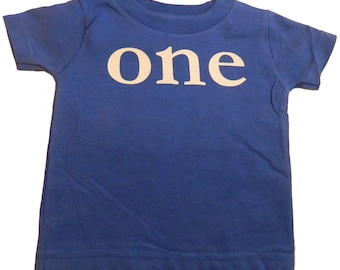 ONE First Birthday T-Shirt for Boys or Girls for One-Year-Old, Blue or Pink 1st Bday Tee