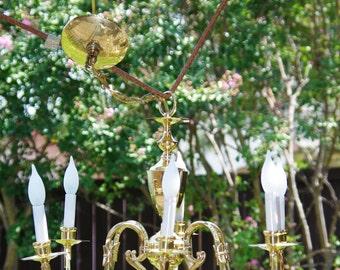 Crystal Chandelier, 6 Arm Crystal Gold Chandelier, 6 Crystal Prisms, Intricate Gold Detail