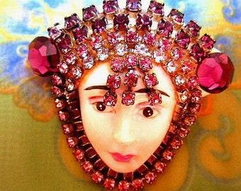 Enchanting Face with Rhinestone Headdress Brooch