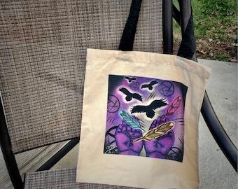 Cream linen tote bag with original art design weird emo macabre popart unique statement