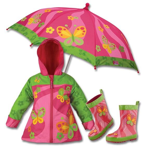 3 Pieces Set Stephen Joseph Butterfly Rain Gear, Umbrella, Rain Coat and Rain Boots.