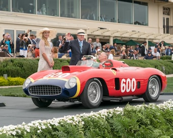 The 28 Million Dollar Car - pebble beach,race car,ferrari,rare car,historic car,home decor,office decor,red,1956 mille miglia,juan fangio