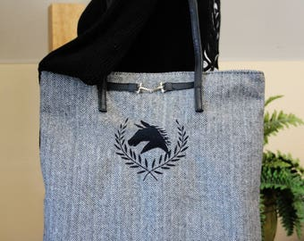 Equestrian gift, Herringbone bag, Herringbone purse, Gift for her, embroidered purse, hobo bag, messenger bag, shoulder bag, Horse gift