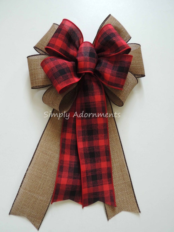 Rustic Country Wedding Pew Bow Red black Christmas Plaid Bow Rustic Tartan Country Christmas Bow Cabin Plaid Christmas Wreath Bow