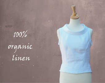 Linen blouse with boatneck, linen summer blouse