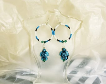 Handmade Beaded Turtle Earrings
