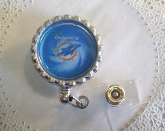 Miami Dolphins ID Holder (155) - Dolphins Name Badge Holder - Miami Dolphins Badge Reel - Dolphins lanyard