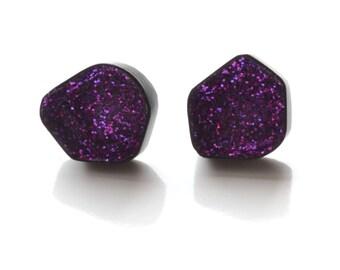 geode earrings, sparkle stud earrings, geometric glitter earrings, powder coat gloss black with purple sparkle, statement earrings, unique