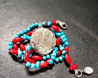 Turquoise Locket Necklace, Vintage Locket, Silver Locket Necklace, Sterling Silver Round Locket, Picture Locket, Boho Locket Necklace, UK