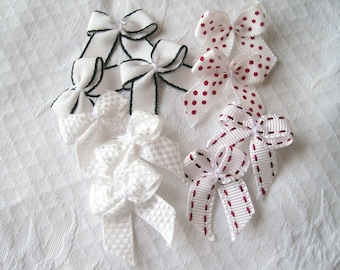 edge 10 assorted white red dots, plain white ribbon bows, red or black - 29 x 35 mm