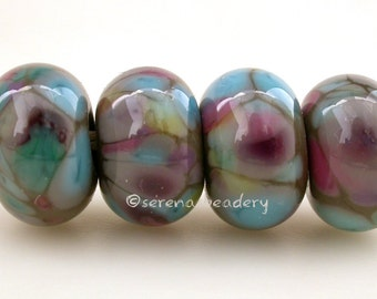 Lampwork Glass Bead Set SUMMER STORM - TANERES sra grey pink blue green - 11 or 13 mm