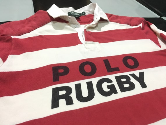 Rare spell shirt condition color ralph Vintage lauren RUGBY long POLO Good Size out sleeve rugby Polo striped XL RvqBwWnrR