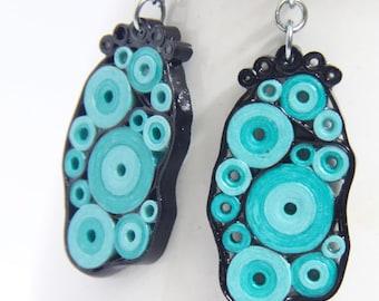 Retro Earrings Aqua Turquoise and Black Circles OOAK Niobium Eco Friendly Artisan Jewelry hypoallergenic