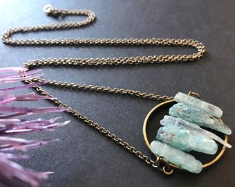 Raw Kyanite Necklace // Long Necklace // Raw Stone Necklace // Unique Long Necklace // Boho Necklace // Modern Necklace // Gift for Her