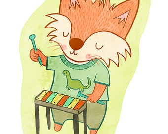 Fox with a Xylophone - Orange Fox Nursery Art, Fox Illustration, Fox Wall Art, Fox Nursery Decor, Nursery Art Illustration Print