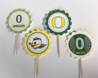 University of Oregon Ducks - 12 cupcake toppers