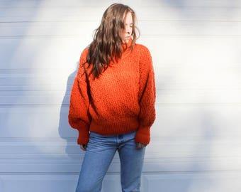 Vintage Oversized Orange Knit Sweater