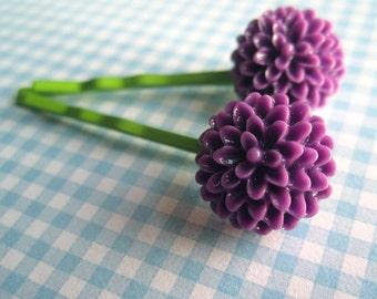 Pinces à cheveux fleurs violet Pom Pom